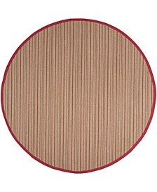 Natural Fiber Brown and Red 6' x 6' Sisal Weave Round Area Rug