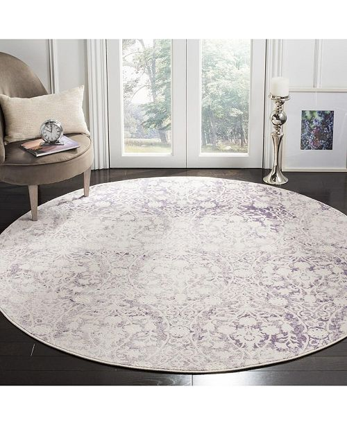 """Safavieh Passion Lavender and Ivory 6'7"""" x 6'7"""" Round Area Rug"""