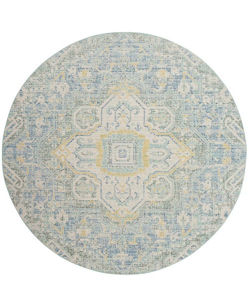Safavieh Windsor Blue and Lime 6' x 6' Round Area Rug