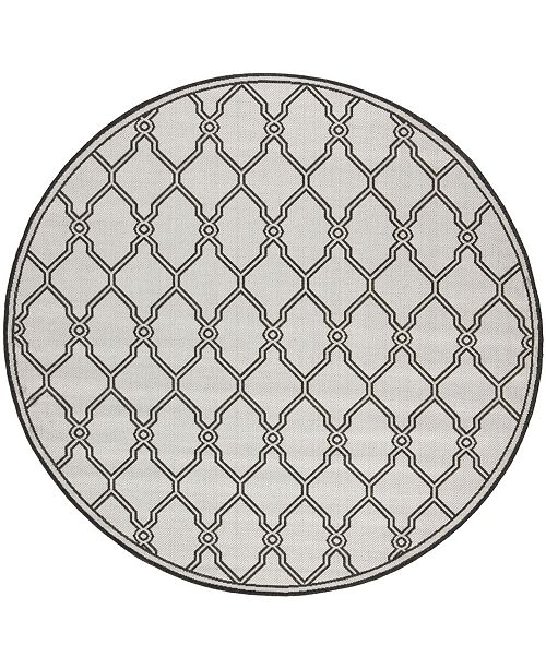 """Safavieh Linden Light Gray and Charcoal 6'7"""" x 6'7"""" Round Area Rug"""