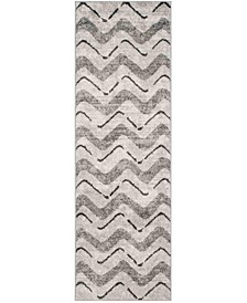 "Adirondack Silver and Charcoal 2'6"" x 8' Runner Area Rug"