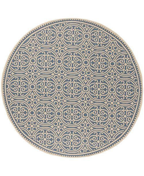 """Safavieh Linden Cream and Blue 6'7"""" x 6'7"""" Round Area Rug"""