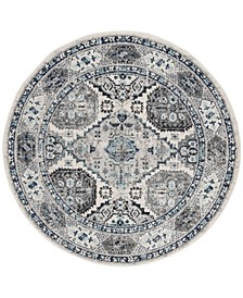 """Madison Light Gray and Blue 6'7"""" x 6'7"""" Round Area Rug"""