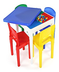 Kids Square Lego-compatible Table and 4 Chairs Set