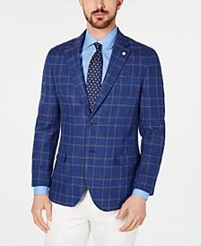 Men's Modern-Fit Blue Plaid Sport Coat