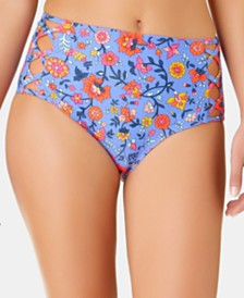 California Waves Juniors' C'est La Vie Printed Strappy High Waist Bottoms, Created for Macy's
