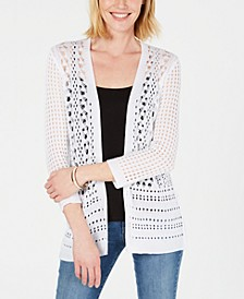 Petite Open-Stitch Cardigan, Created for Macy's