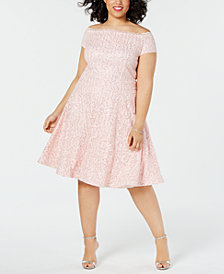 B Darlin Trendy Plus Size Off-The-Shoulder Lace Dress, Created for Macy's