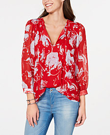 Tommy Hilfiger Floral-Print Pleated Top, Created for Macy's