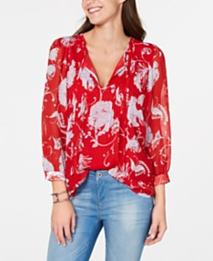 1e8a015b0c52 Tommy Hilfiger Floral-Print Pleated Top, Created for Macy's