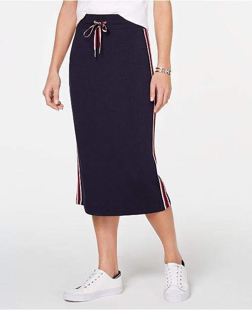 Tommy Hilfiger Striped Drawstring Skirt, Created for Macy's