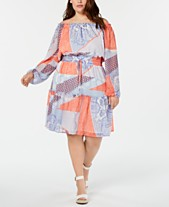 bf1a4cf6b2 Tommy Hilfiger Plus Size Printed Off-The-Shoulder Dress
