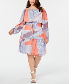 Tommy Hilfiger Plus Size Printed Off-The-Shoulder Dress