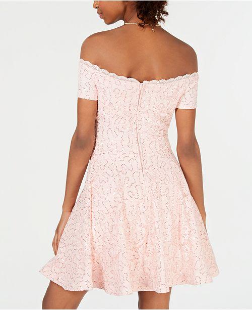 cd466324308 ... B Darlin Juniors  Off-The-Shoulder Lace Dress