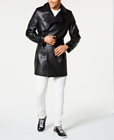 I.N.C. Men's Faux Leather Trench Coat, Created for Macy's