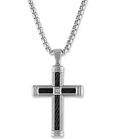 "Diamond Accent Cross 22"" Pendant Necklace  in Stainless Steel & Black Ion-Plate, Created for Macy's"