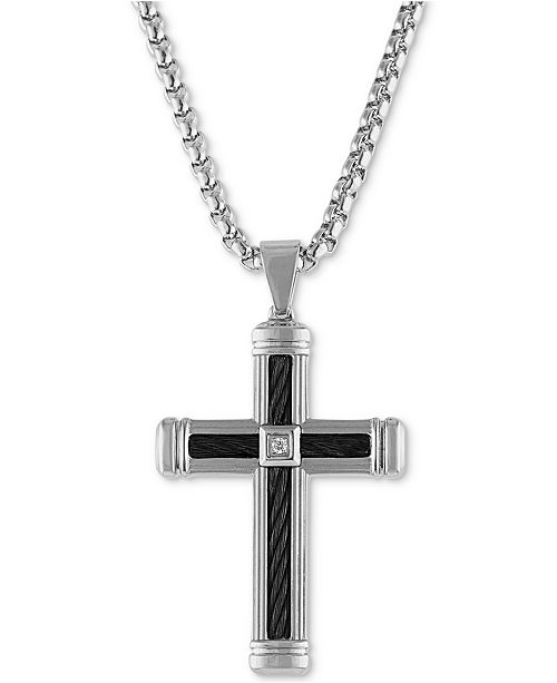 """Esquire Men's Jewelry Diamond Accent Cross 22"""" Pendant Necklace  in Stainless Steel & Black Ion-Plate, Created for Macy's"""