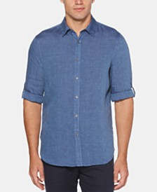 Perry Ellis Men's Linen Roll Tab Shirt