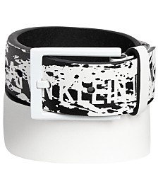 Calvin Klein Big Boys Splatter-Print Logo Belt