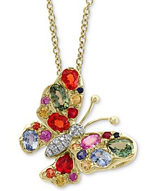 "EFFY® Multi-Sapphire (2-1/4 ct.t.w.) & Diamond Accent 18"" Butterfly Pendant Necklace in 14k Gold"