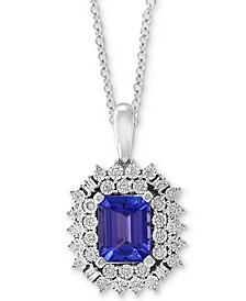 "EFFY® Tanzanite (2-1/10 ct. t.w.) & Diamond (1/5 ct. t.w.) 18"" Pendant Necklace in 14k White Gold"