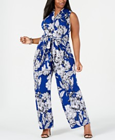 Jessica Howard Plus Size Surplice Printed Jumpsuit