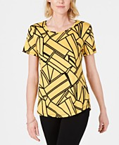 e09ad8247cf JM Collection Printed Scoop-Neck Top