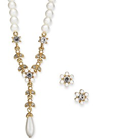 "Charter Club Gold-Tone Crystal and Imitation Pearl Flower Lariat Necklace & Stud Earrings Set, 17"" + 2"" extender, Created for Macy's"