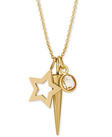"Layered Charm Pendant Necklace in 14k Gold-Plate over Sterling Silver, 16"" + 2"" extender"