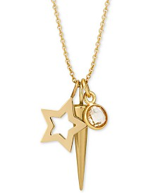 "Sarah Chloe Layered Charm Pendant Necklace in 14k Gold-Plate over Sterling Silver, 16"" + 2"" extender"