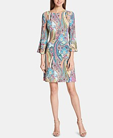 Petite Jaipur Paisley Bell-Sleeve Sheath Dress