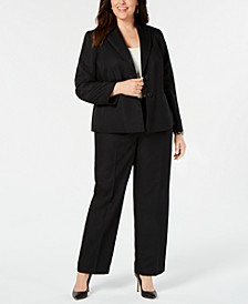 Plus Size Elastic-Waist Pants Suit