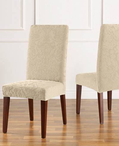 Sure Fit Stretch Jacquard Damask Short Dining Chair Slipcover ...