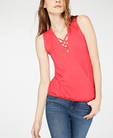 I.N.C. Lace-Up Surplice Top, Created for Macy's