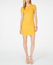 MICHAEL Michael Kors Scalloped-Stripe Sweater Dress