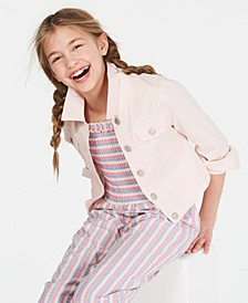 Big Girls Crochet-Trim Denim Jacket, Created for Macy's