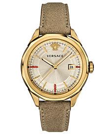 Versace Men's Swiss Glaze Brown Leather Strap Watch 43mm