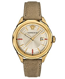 Versace Men's Swiss Glaze Brown Leather Strap Watch 43mm