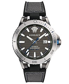 Versace Men's Swiss Sport Tech Black Rubber Strap Watch 45mm
