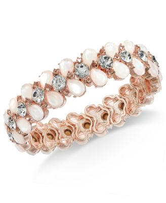 Rose Gold-Tone Crystal & Imitation Pearl Stretch Bracelet, Created for Macy's