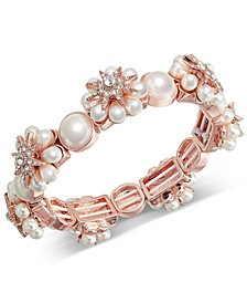 Rose Gold-Tone Crystal & Imitation Pearl Starburst Stretch Bracelet, Created for Macy's