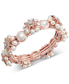 Charter Club Rose Gold-Tone Crystal & Imitation Pearl Starburst Stretch Bracelet, Created for Macy's