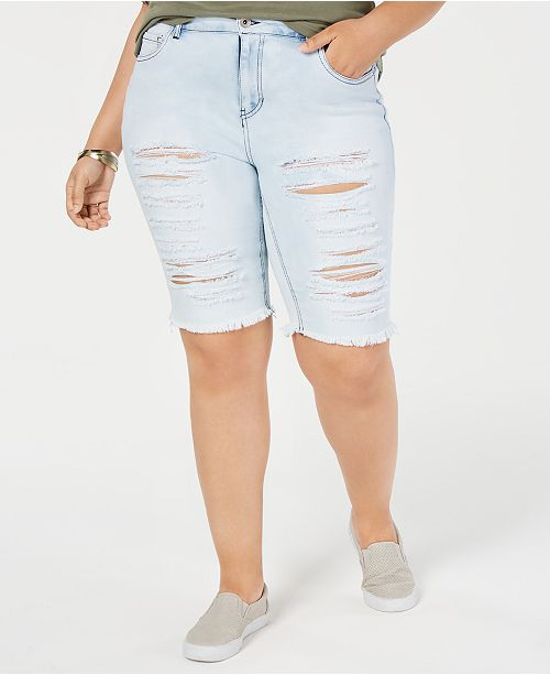 8d5d1e7092 Dollhouse Juniors' Plus Size Distressed Denim Shorts & Reviews ...