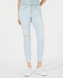 Vanilla Star Juniors' Distressed Button-Fly Skinny Jeans