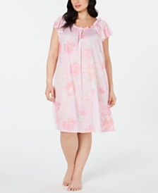 Miss Elaine Plus-Size Silk Essence Watercolor Flower-Print Nightgown