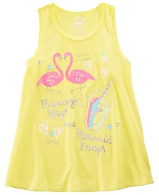 Max & Olivia Little & Big Girls Flamingo-Print Pajama Tank Top, Created for Macy's