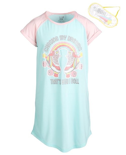 Max & Olivia Little & Big Girls Roller Skates-Print Nightgown & Eye Shade