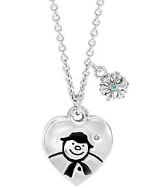 Snowman Heart Pendant Necklace