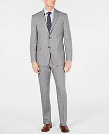 Men's Modern-Fit THFlex Stretch Gray/Navy Windowpane Suit