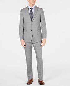 Tommy Hilfiger Men's Modern-Fit THFlex Stretch Gray/Navy Windowpane Suit